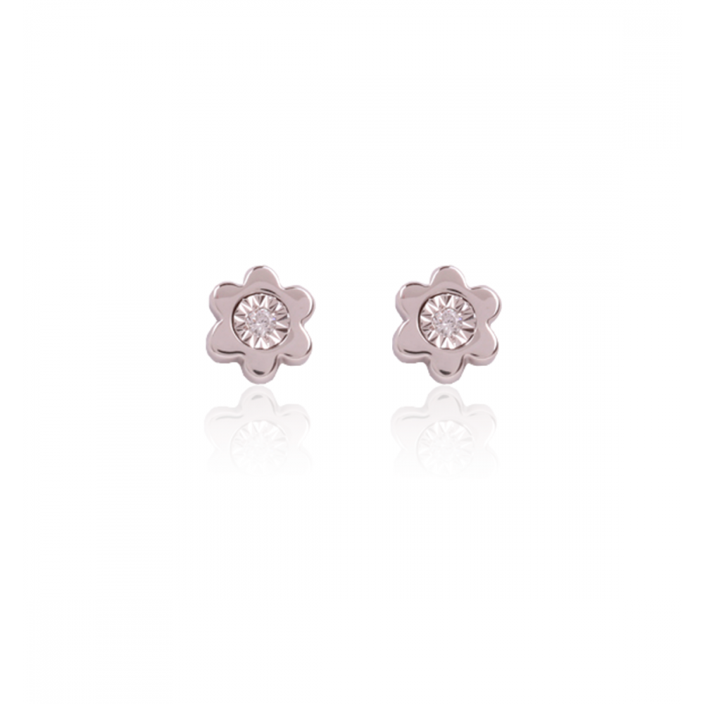 Pendientes Diamante Flor Oro Blanco 18k
