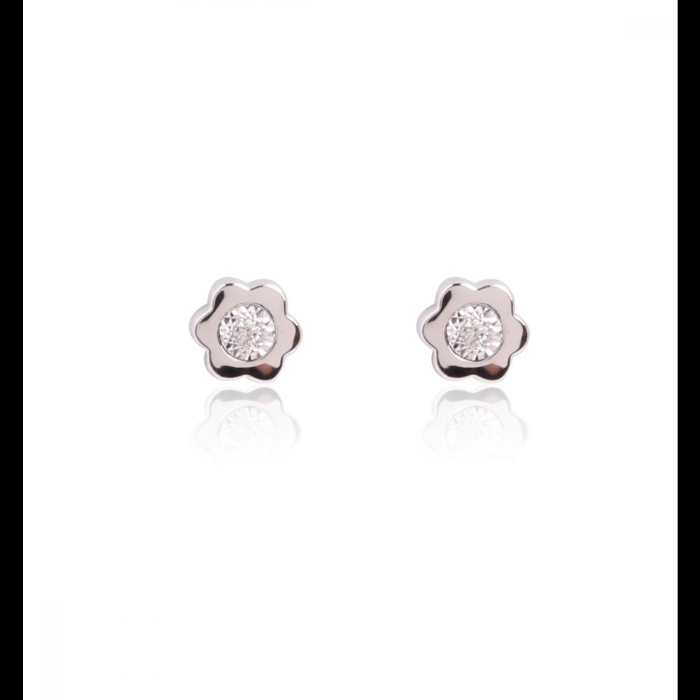 Pendientes Flor Diamantes 0.03k Oro Blanco 18k