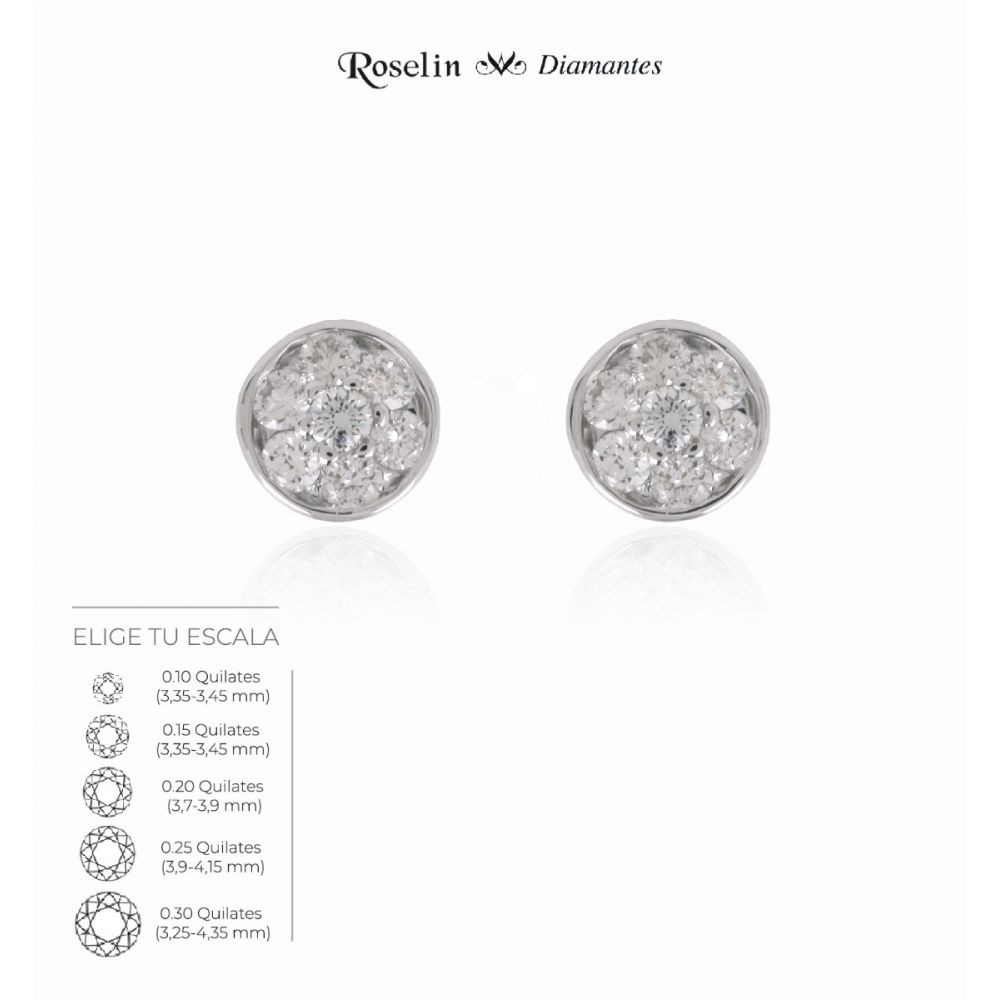 Pendientes Oro 18k Diamantes Redondos. Elige tu escala.