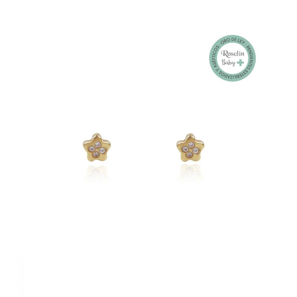 Pendientes Baby + Oro 18k Estrella y circonitas