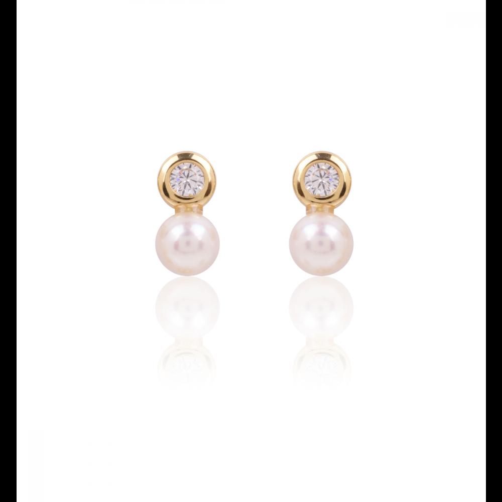 Pendientes Rosca Perlas Tu y Yo Oro 18k