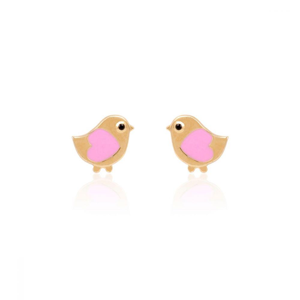 Pendientes Oro 18k pajarito rosa