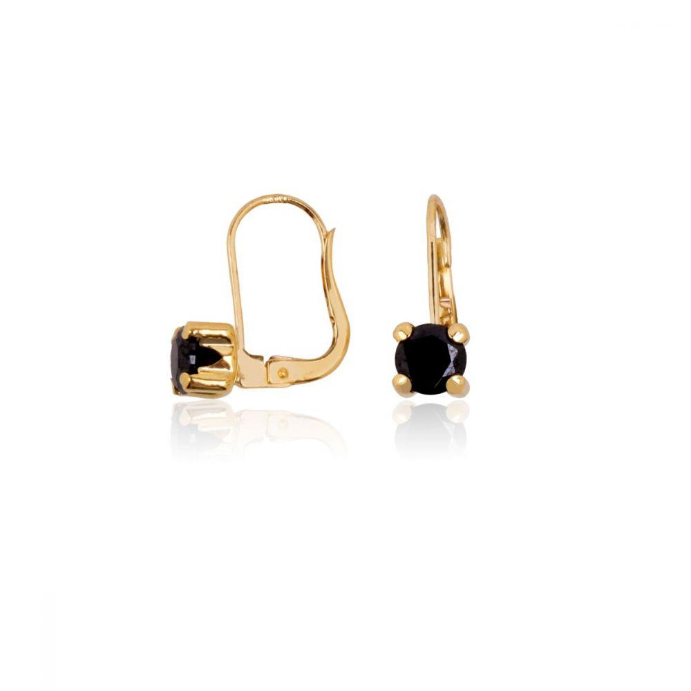 Pendientes Oro 18k Oro circonita negra garras gruesas