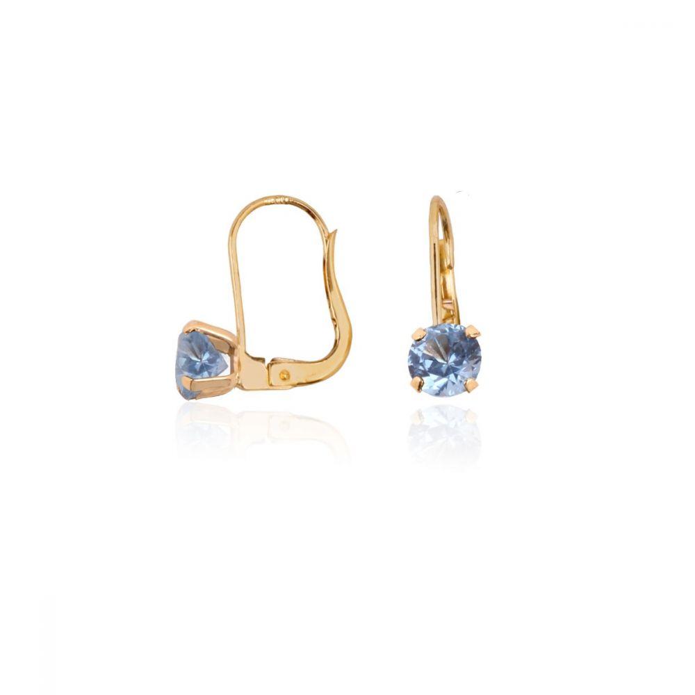 Pendientes Oro 18k Oro circonita azul garras finas