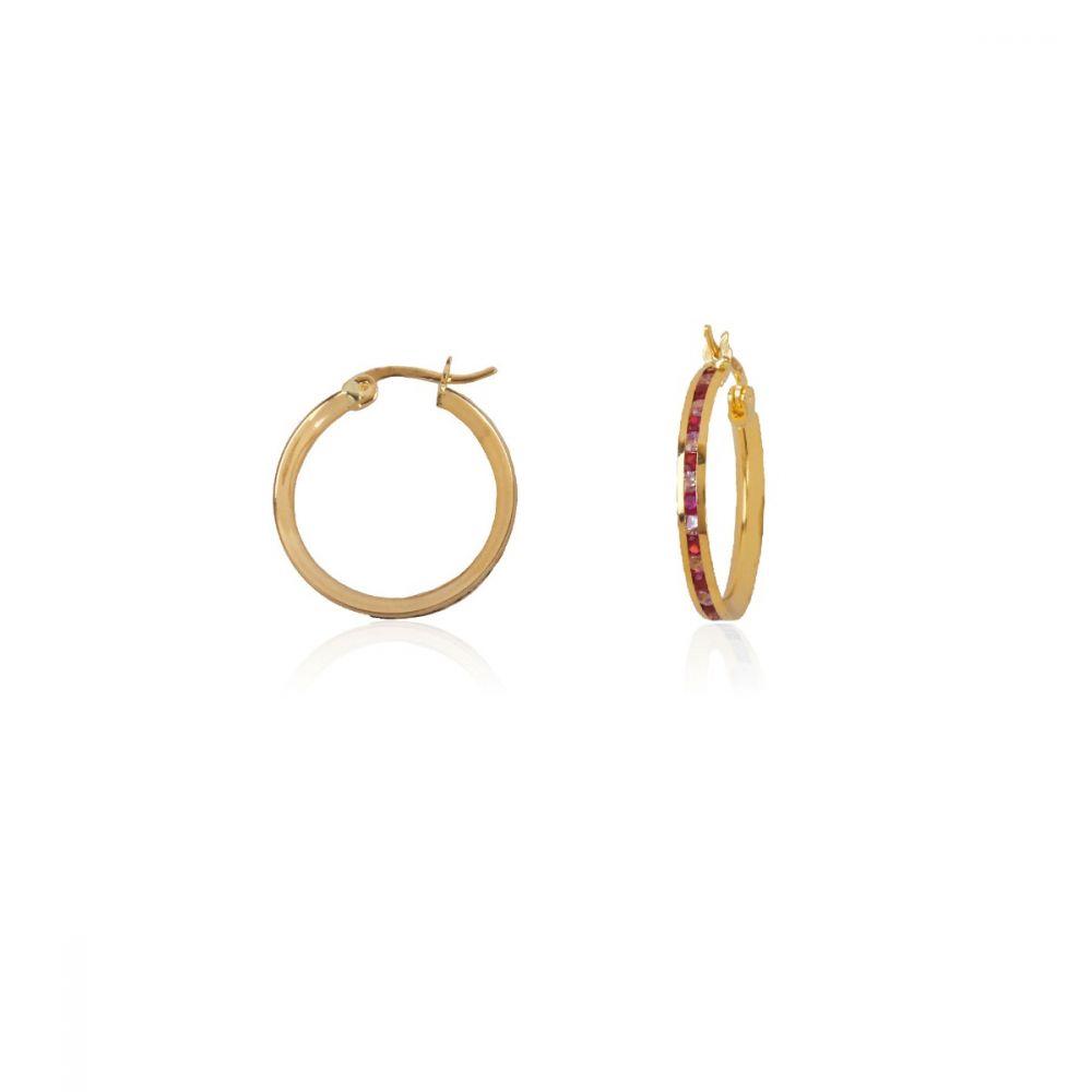 Aros Oro 18k piedras color rosa 15mm