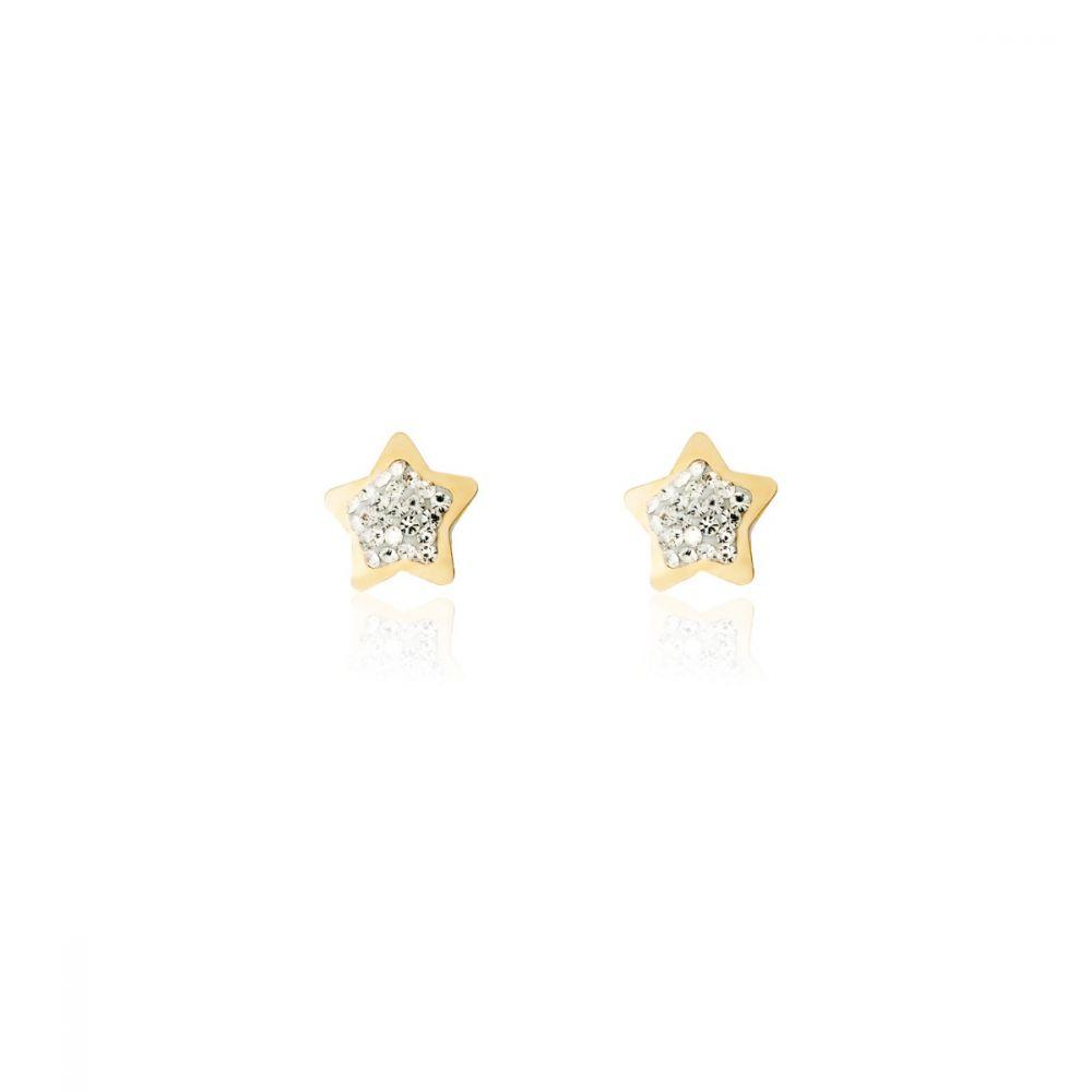 Pendientes estrella circonitas oro 9k