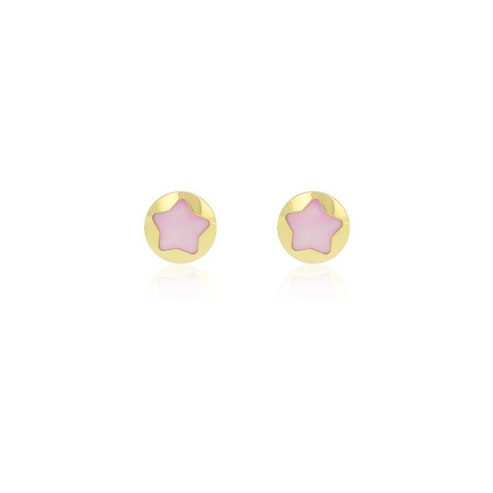 Pendientes Estrella Lila Oro 9k