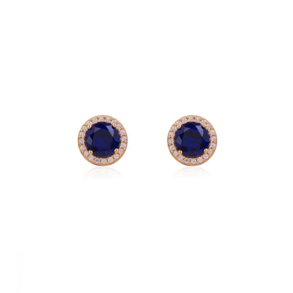Pendientes Oro 9k piedra color azul