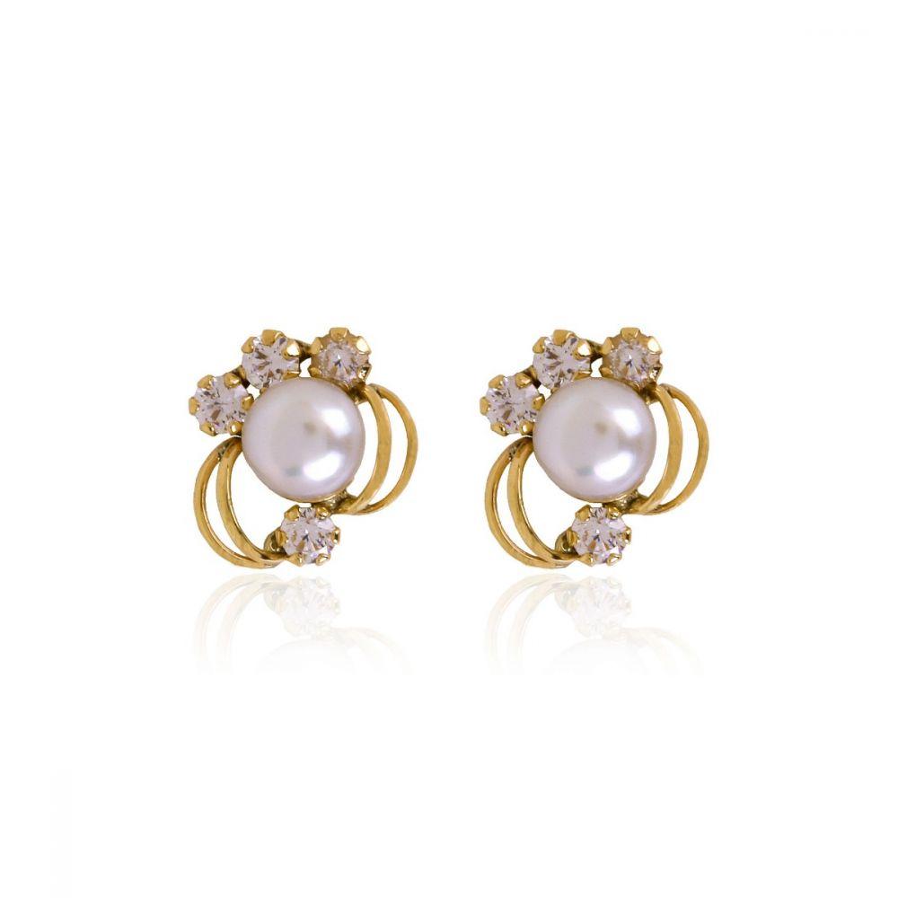 Pendientes Oro 9k perla y circonitas orla
