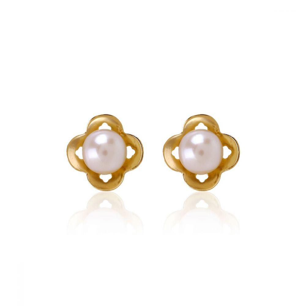 Pendientes Oro 9k perla trébol