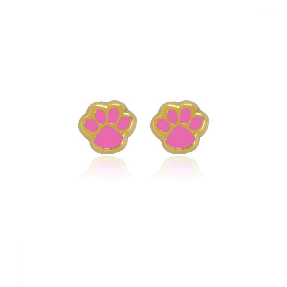 Pendientes Oro 9k huella rosa