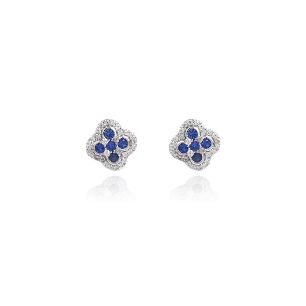 Pendientes Azul Circonitas Plata Luxilver