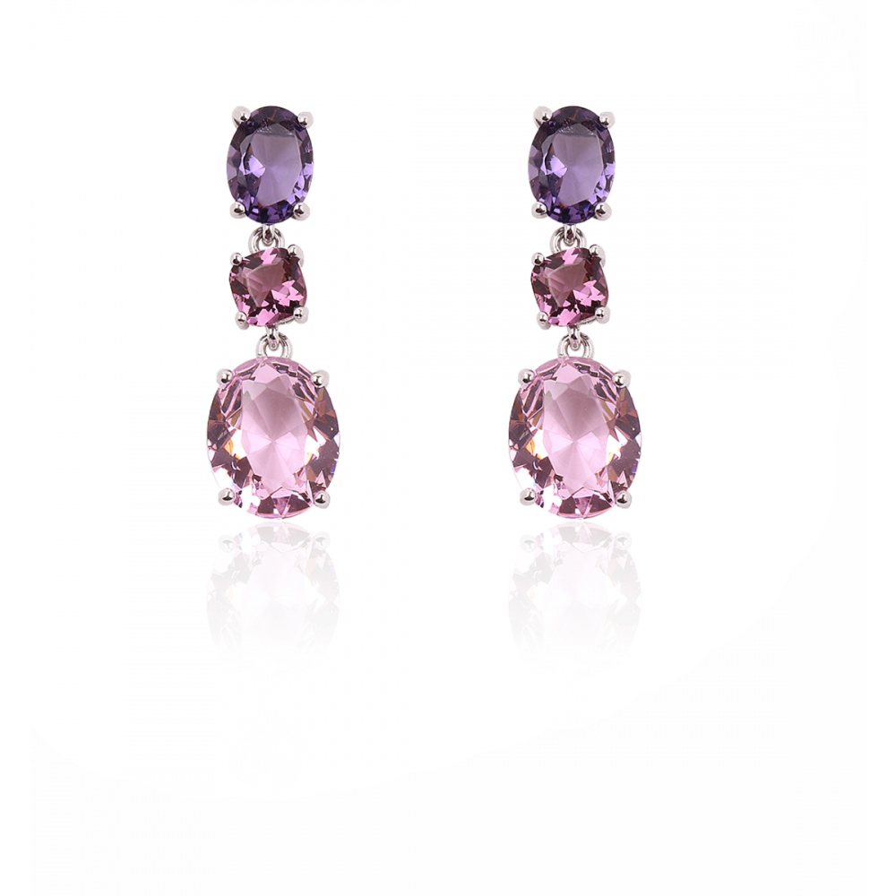 Pendientes Plata triple piedra color rosa