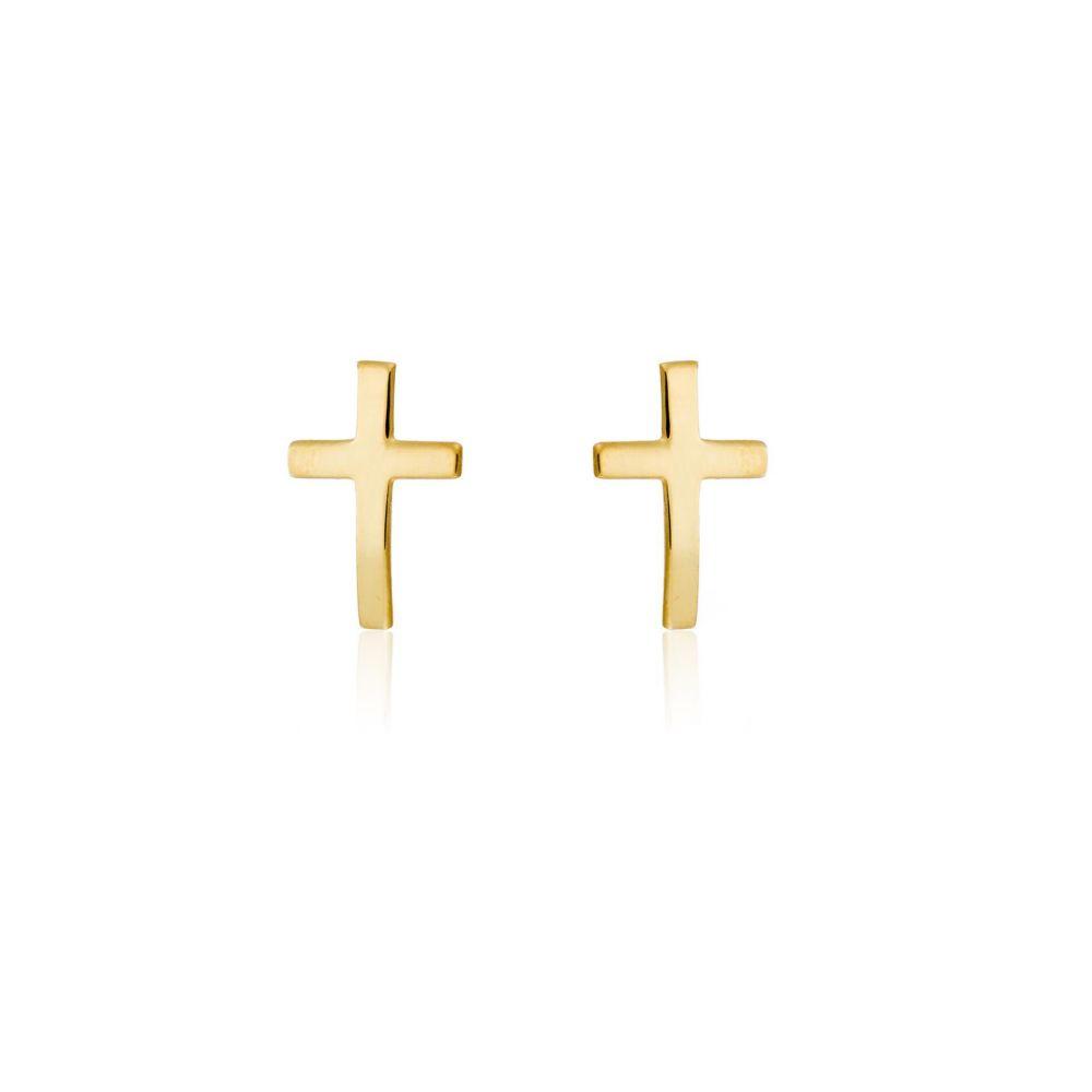 Pendientes plata chapada cruz Roselin Trendy