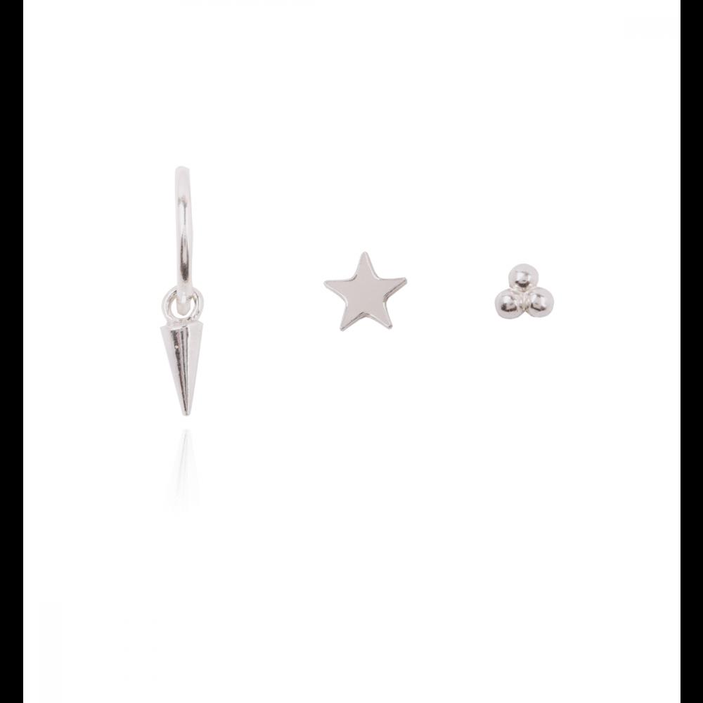 Pack Pendientes Plata aro-cono