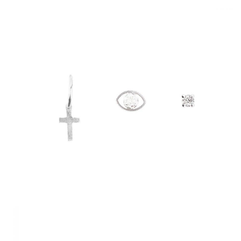 Pack Pendientes Plata aro-cruz