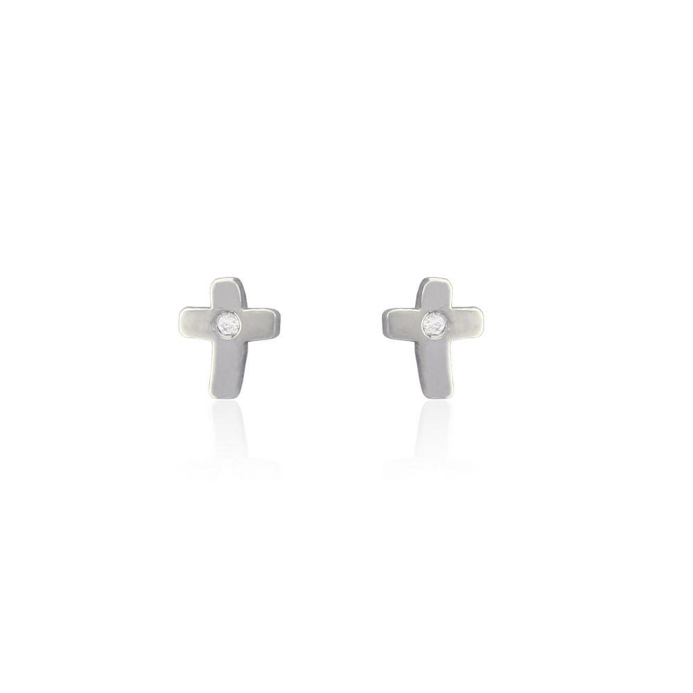 Pendientes cruz plata y diamante Luxilver