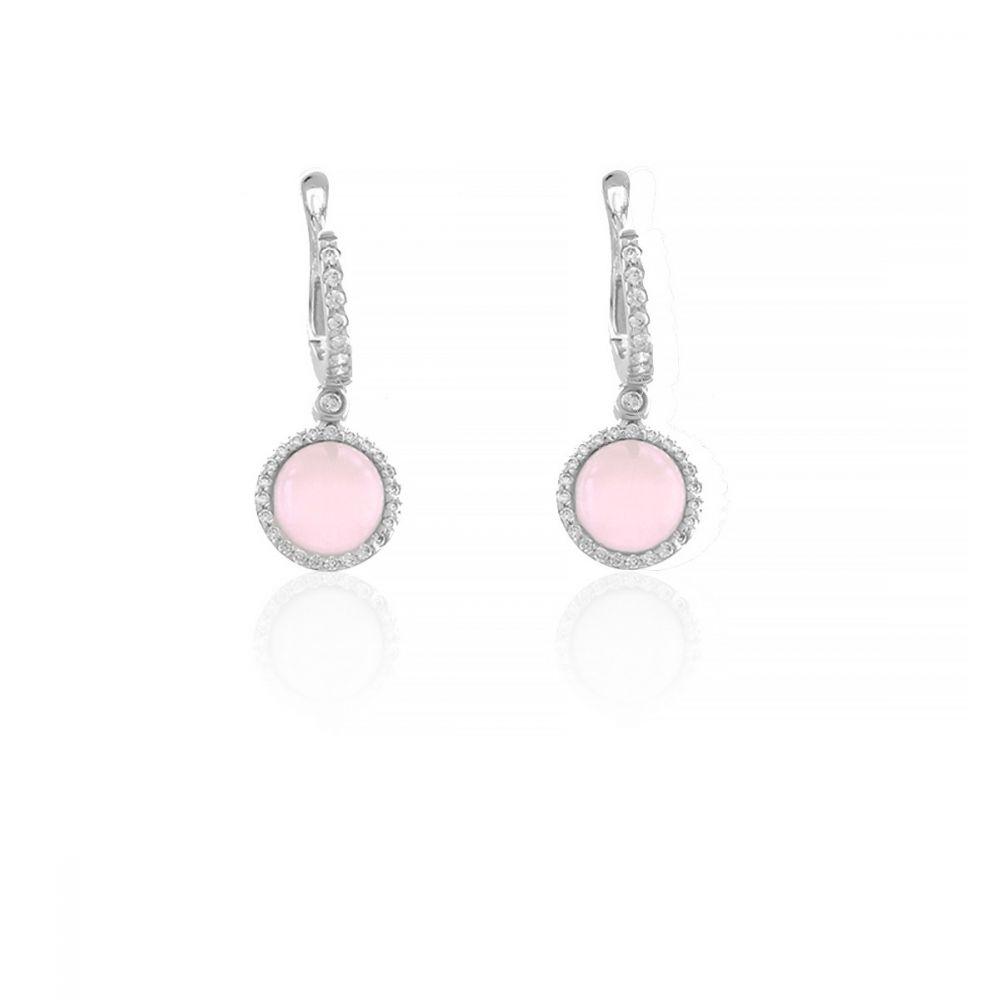 Pendientes Circonitas y piedra rosa Luxilver