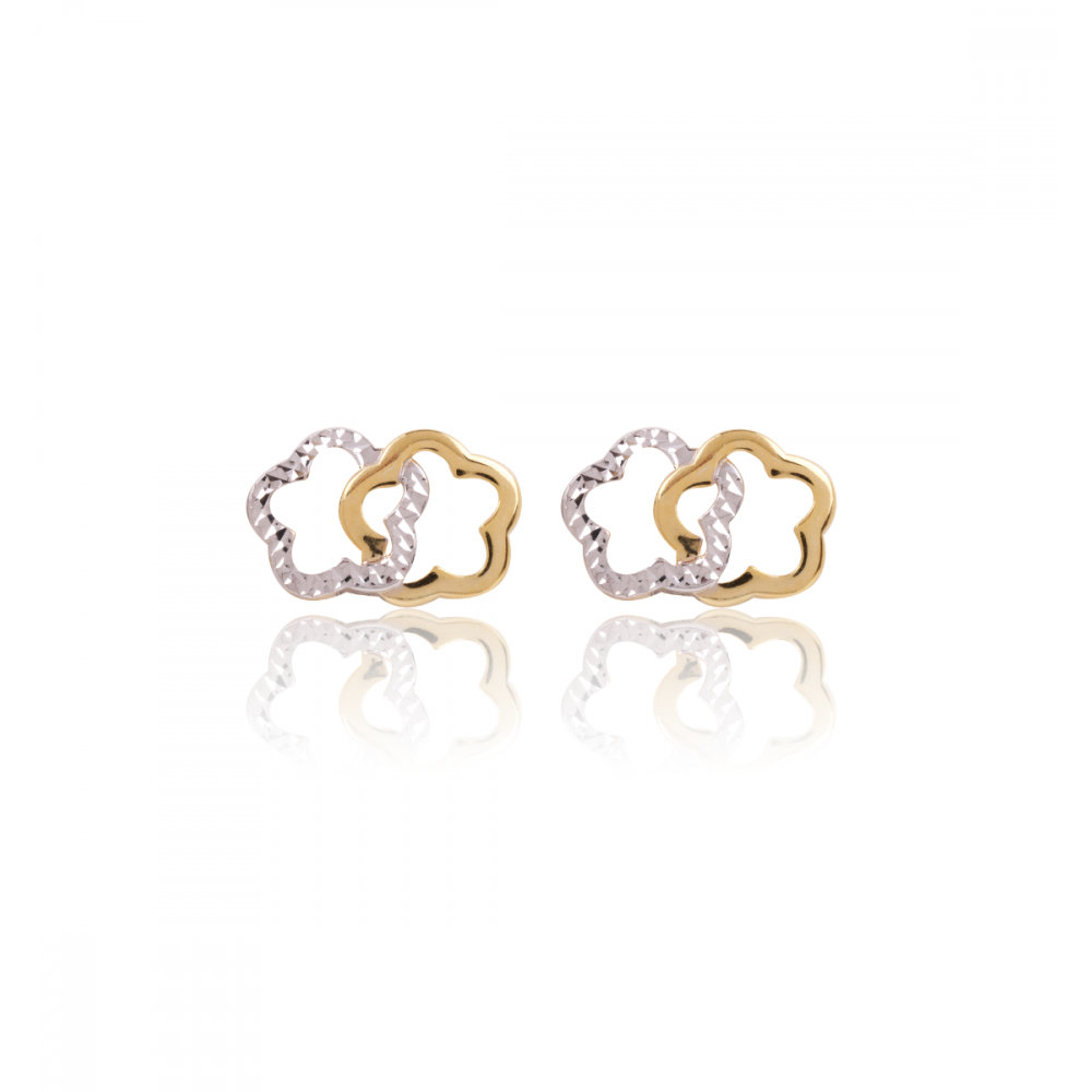 Pendientes Oro y plata doble flor