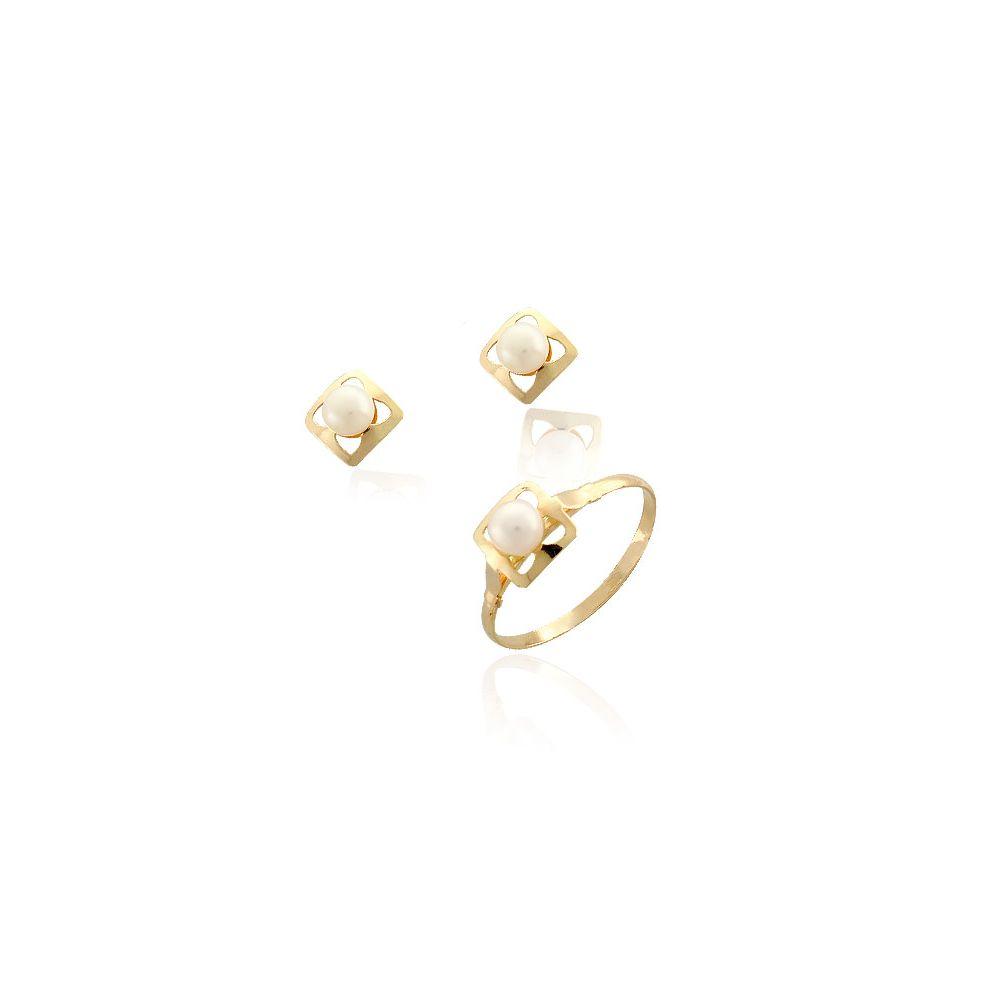 Conjunto niña perla cuadrado Oro 18k