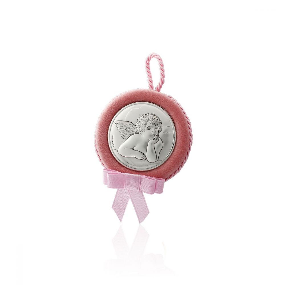 Medalla cuna ángel rosa