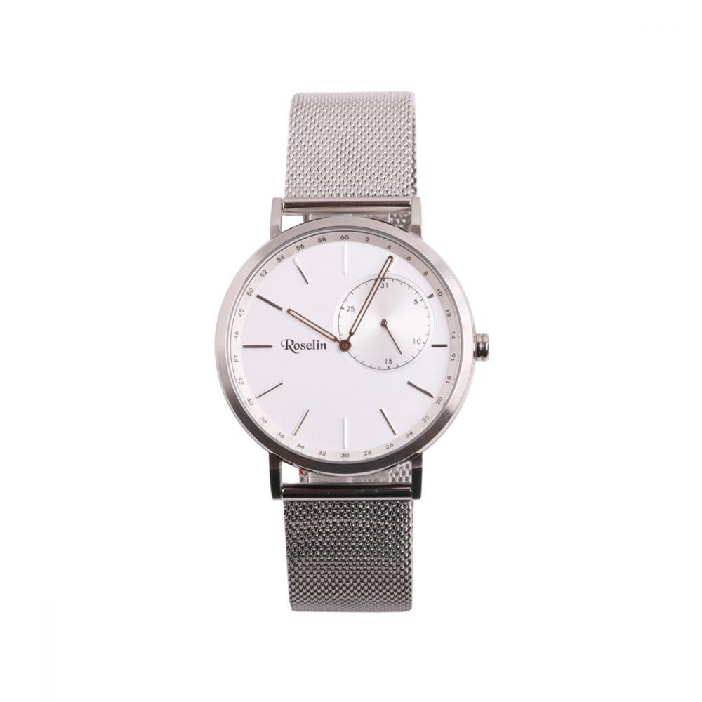 Reloj hombre malla acero blanco multifunción Roselin Watches