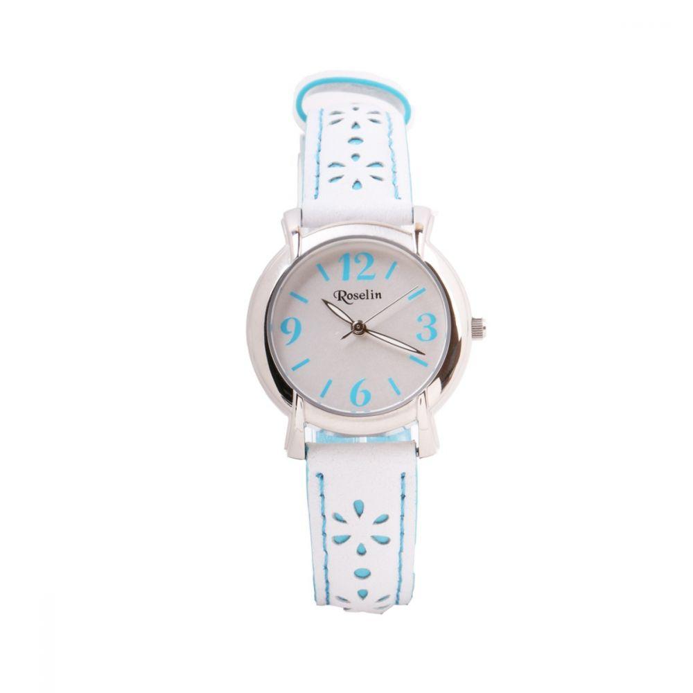 Reloj infantil piel flores azul Roselin Watches