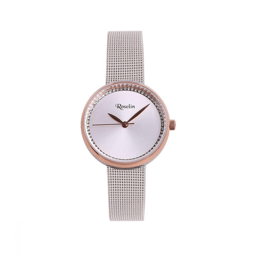 Reloj mujer malla acero y circonitas rosa Roselin Watches