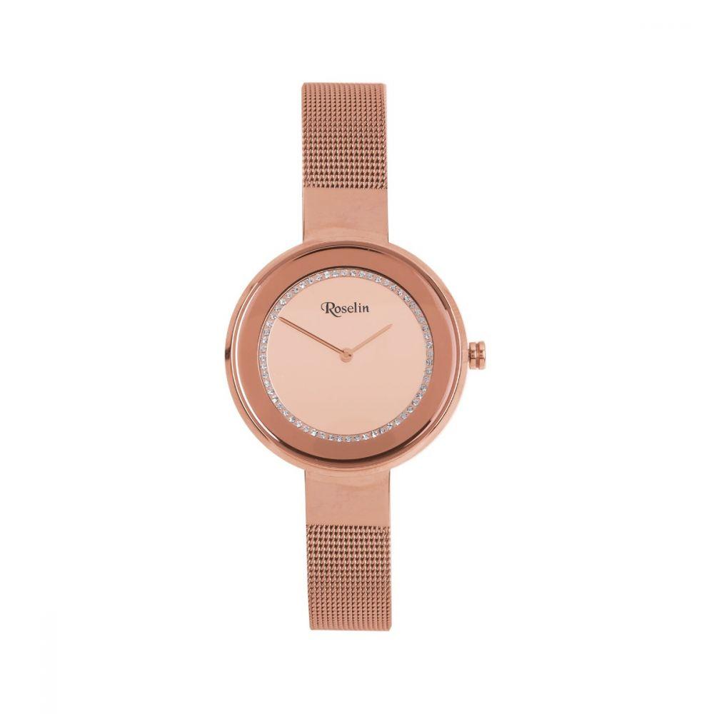 Reloj Mujer Malla Rosa y Circonitas Roselin