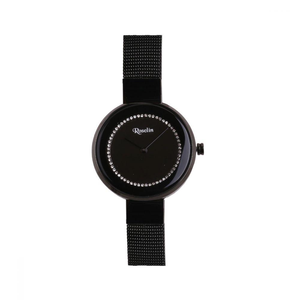 Reloj Mujer Malla Negra y Circonitas Roselin