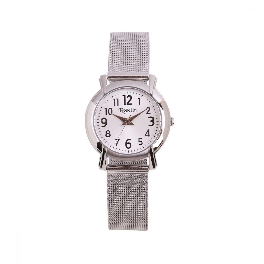 Reloj cadete blanco caja y malla de acero Roselin Watches
