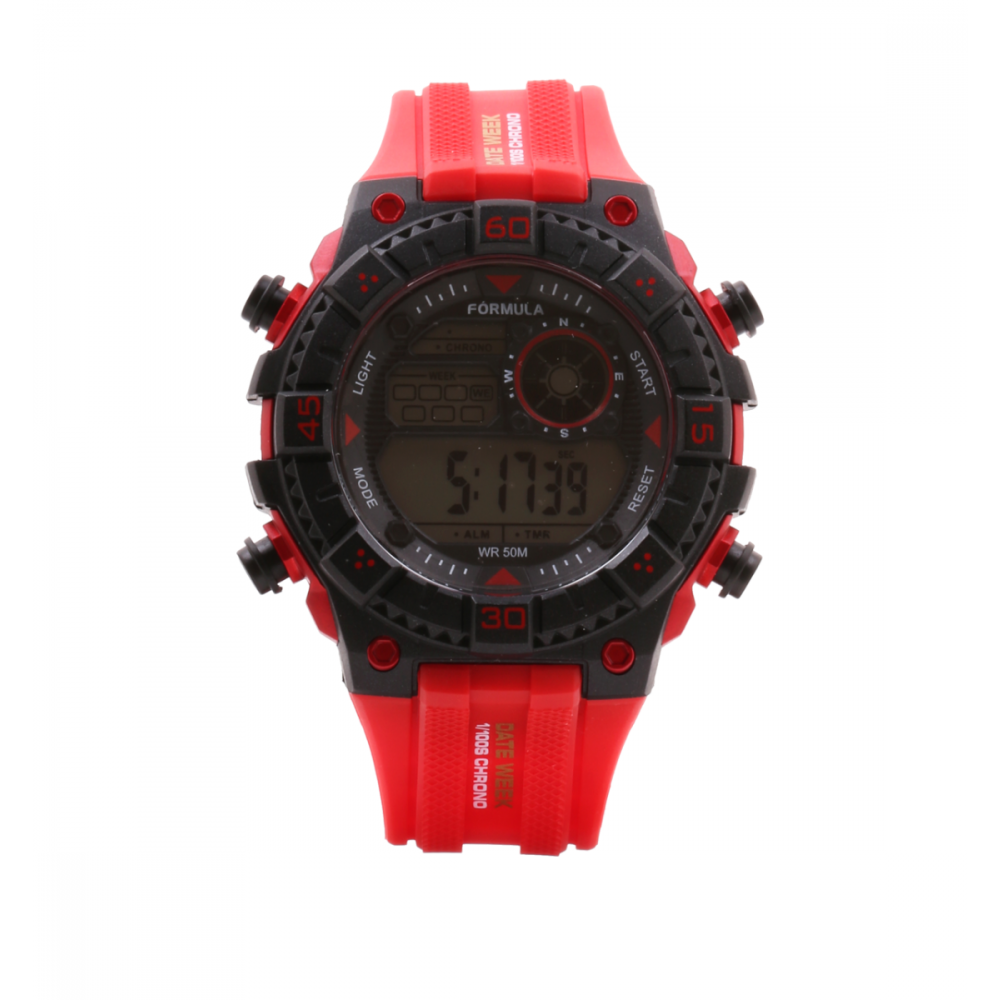 Reloj digital Date Week rojo Fórmula Roselin