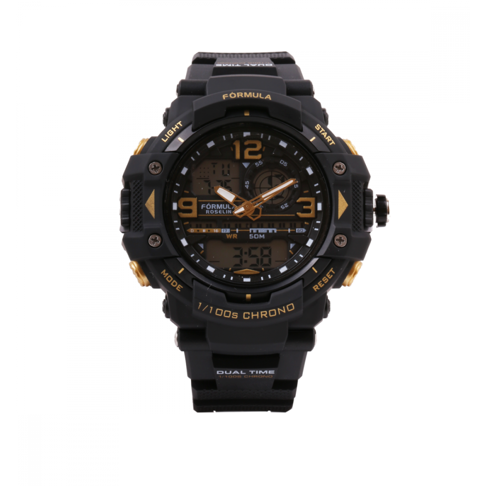 Reloj analógico digital sport  negro y dorado Fórmula Roselin
