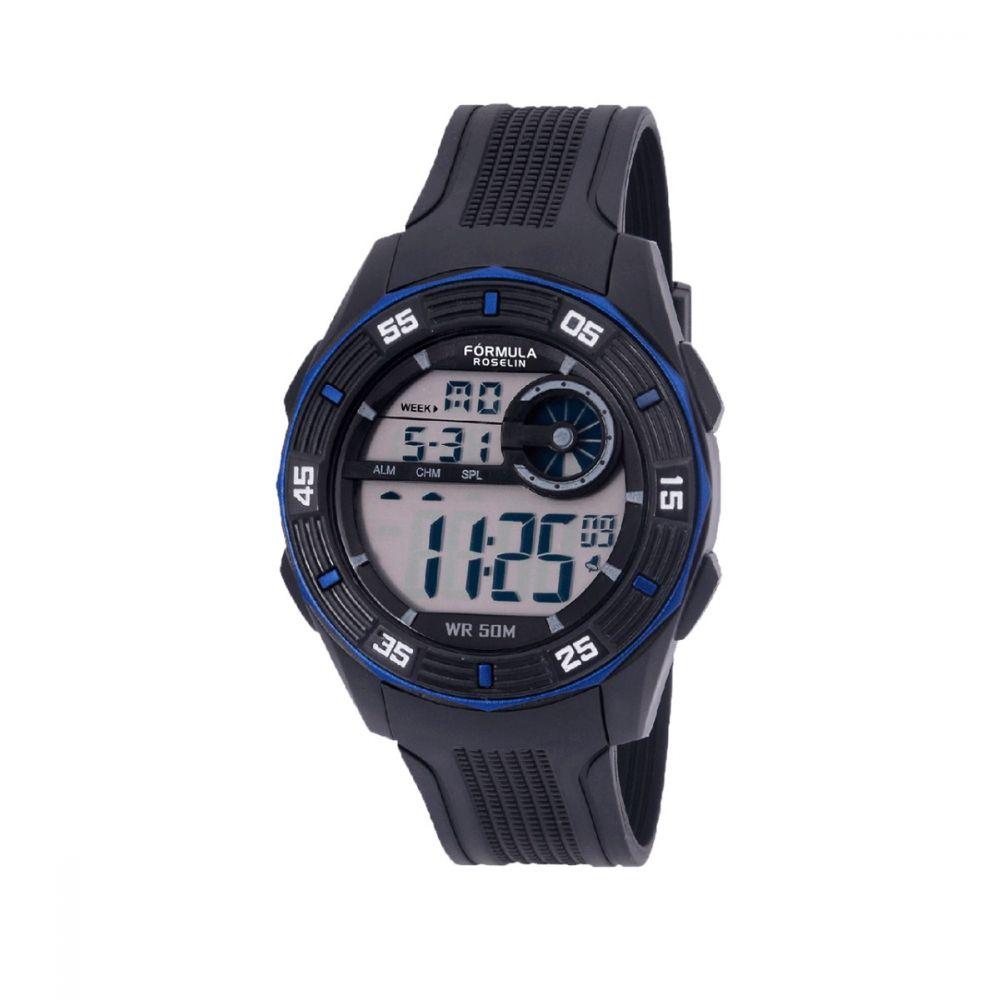 Reloj Digital Caballero Negro Azul Formula Roselin