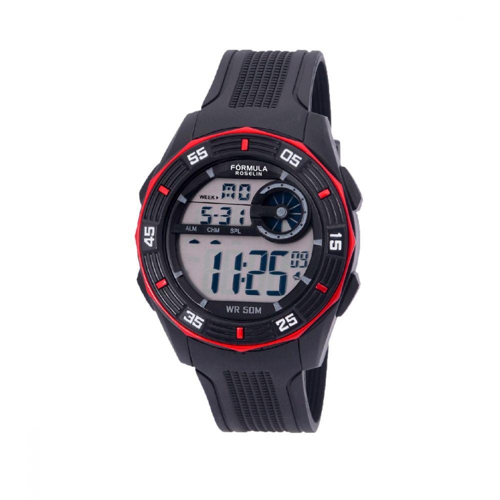 Reloj Digital Caballero Negro Rojo Formula Roselin