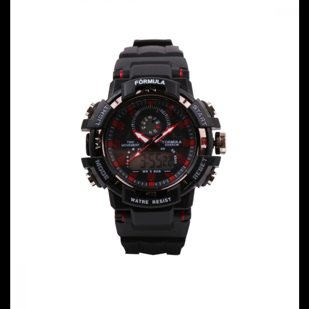 Reloj analógico digital negro Fórmula Roselin