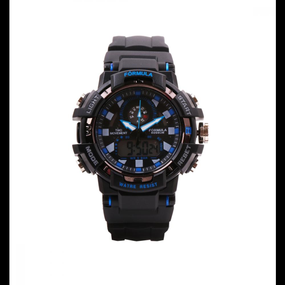 Reloj analógico digital negro y azul Fórmula Roselin