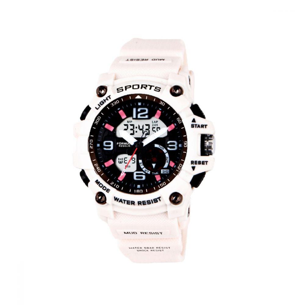 Reloj Analógico-Digital Caucho Blanco Fórmula Roselin