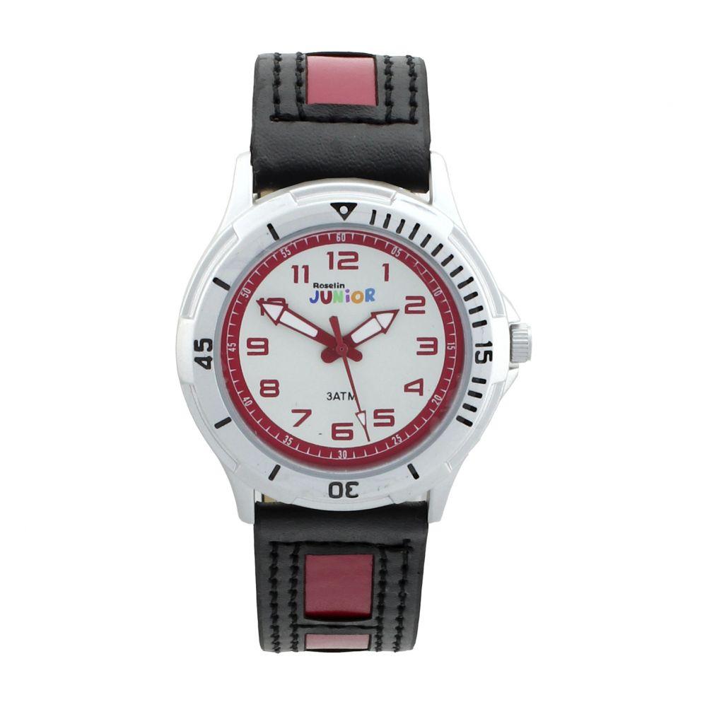 Reloj infantil piel rojo y negro Roselin Junior