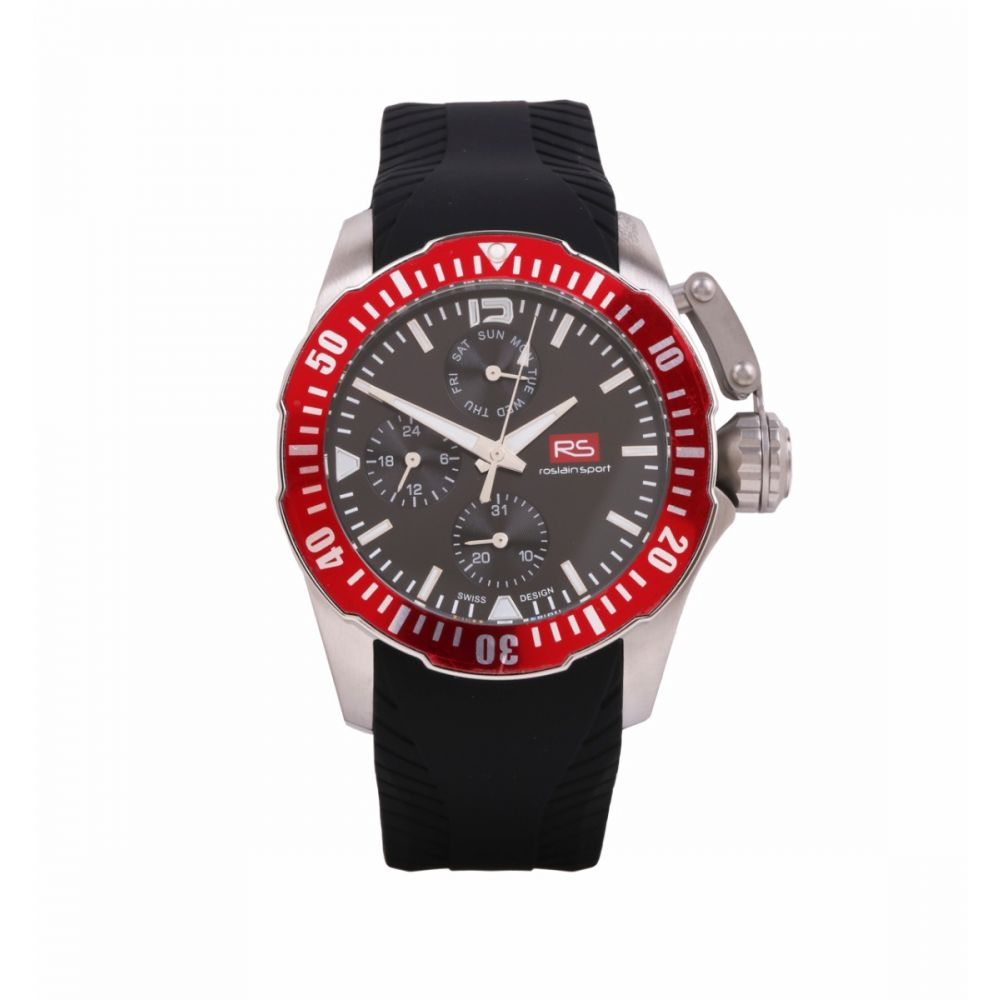 Reloj Hombre Acero Bisel Rojo RS Roslain Sport