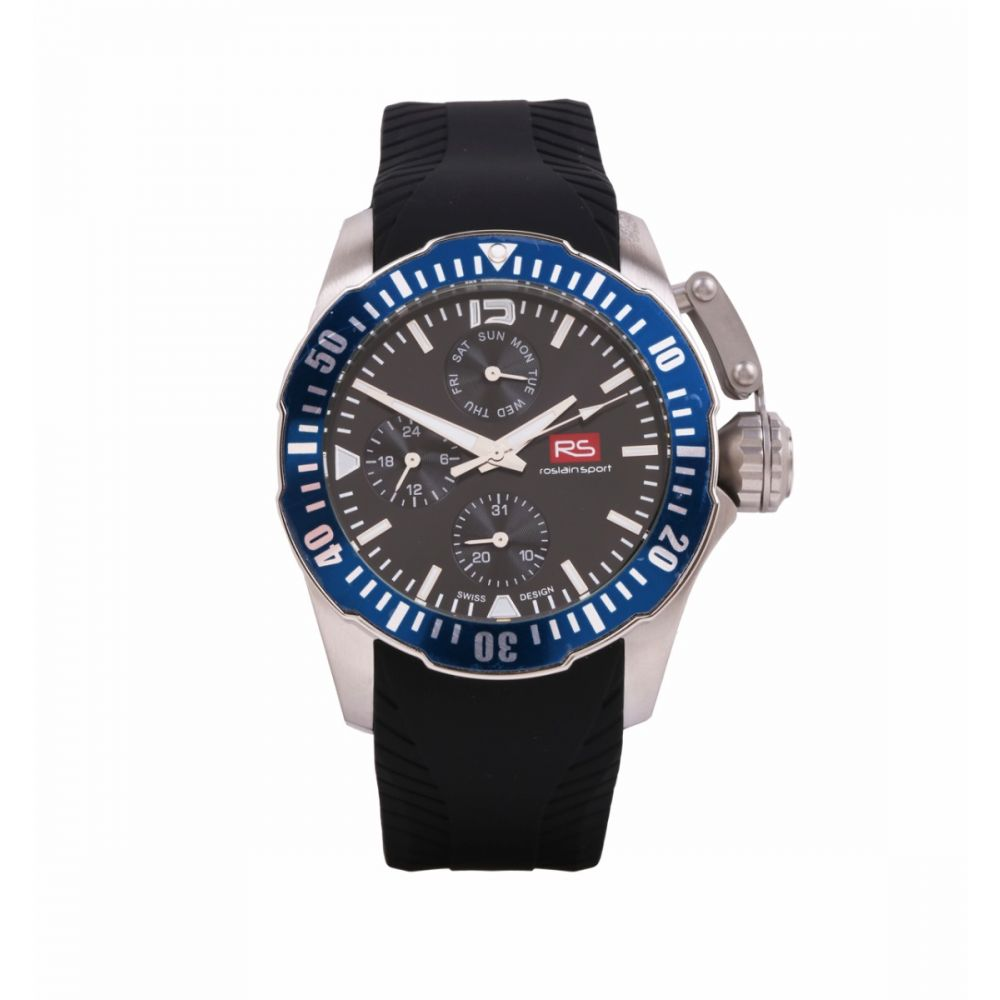 Reloj Hombre Acero Bisel Azul RS Roslain Sport
