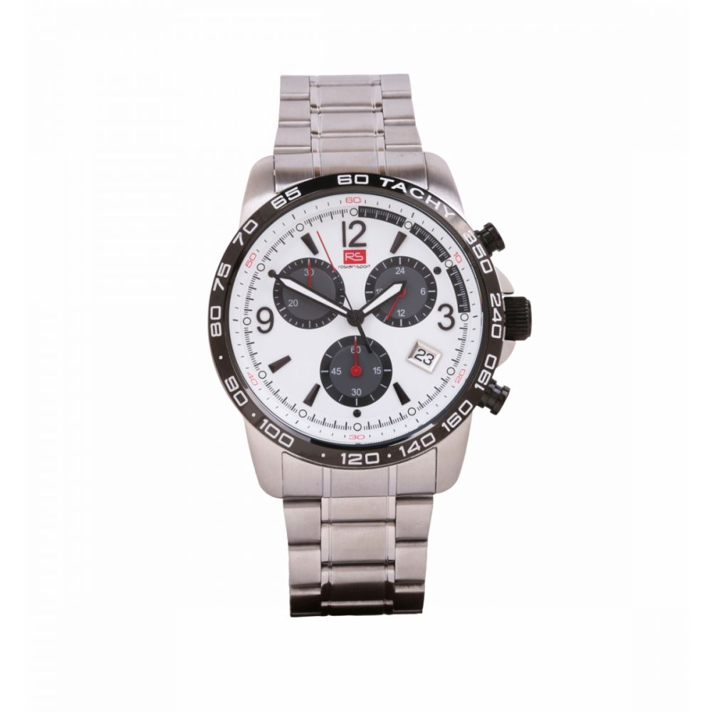 Reloj Hombre Cronografo Acero blanco RS Roslain Sport