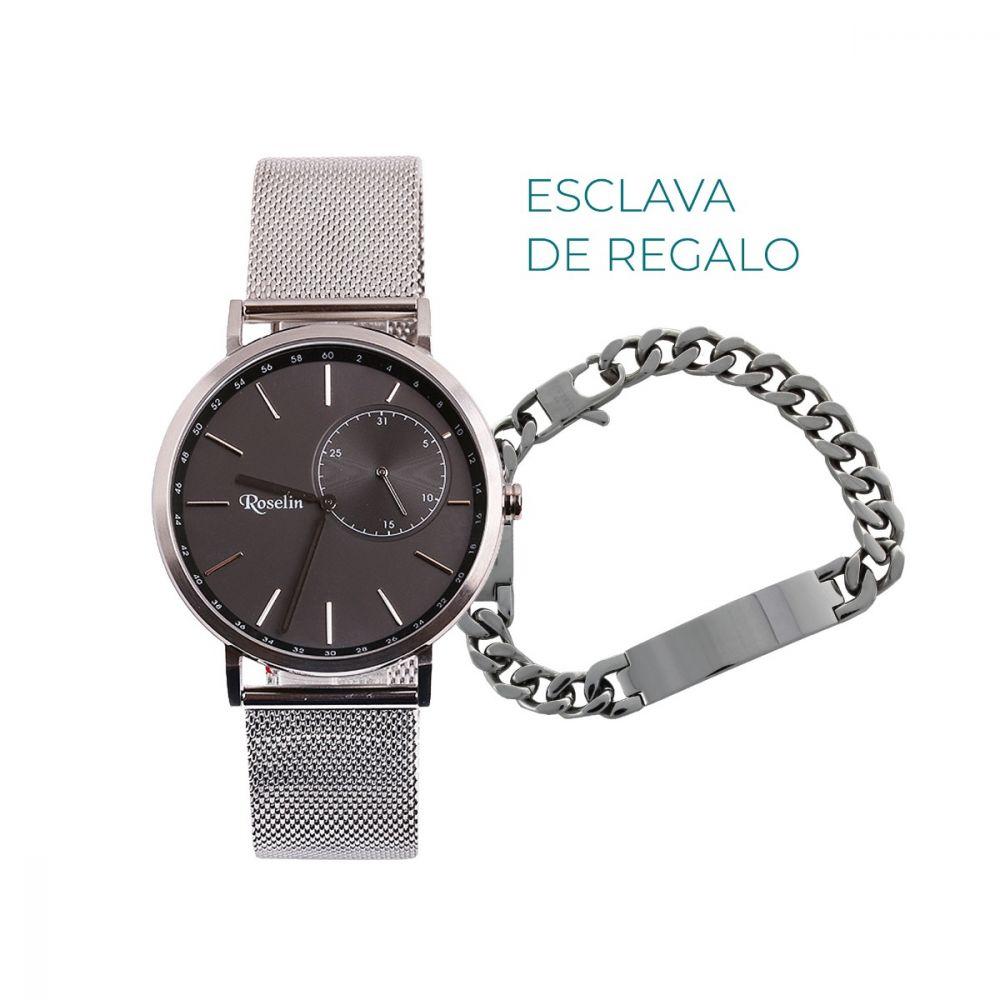 Reloj hombre malla acero multifunción Roselin Watches