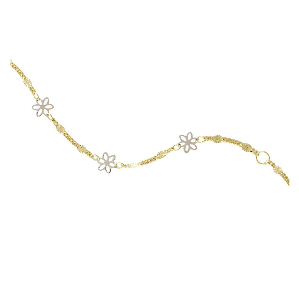 Pulsera bebé Oro 18kts flores