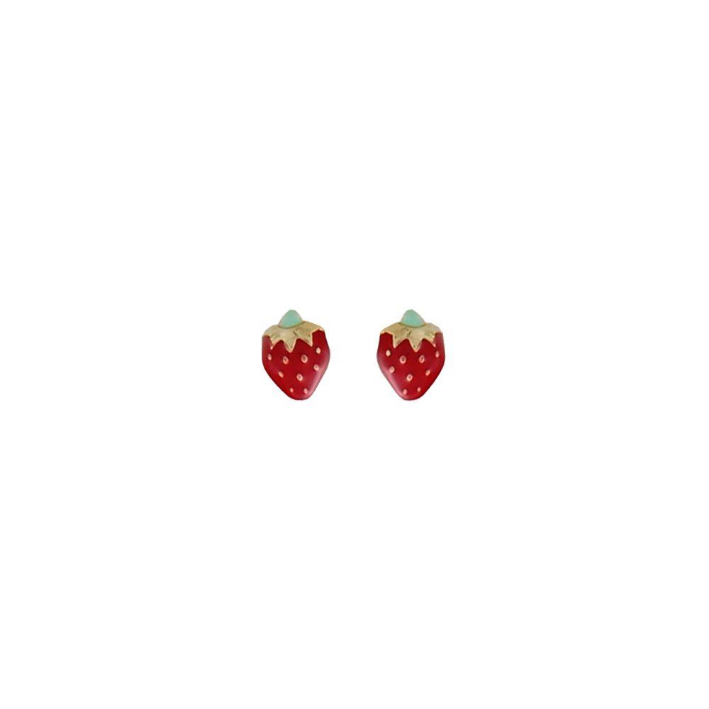 Pendientes bebé Oro 18 kts fresas Roselin