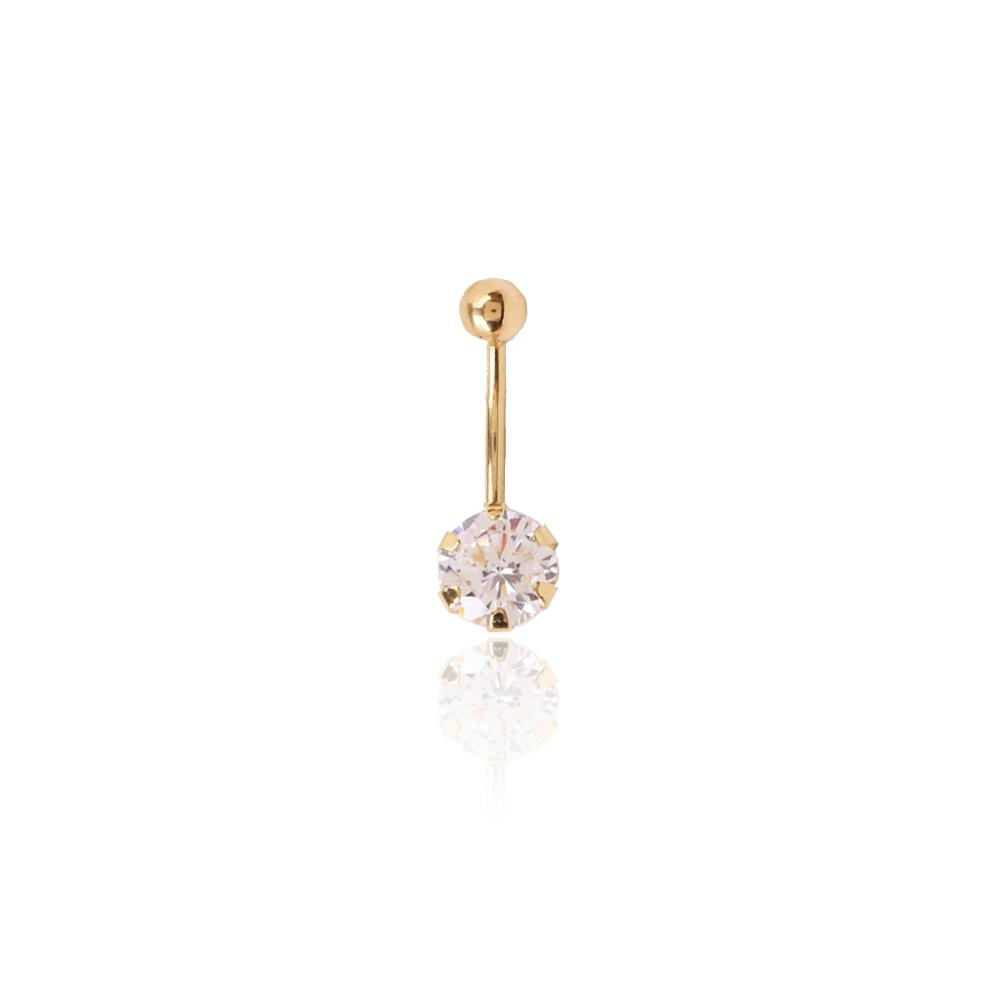 Piercing ombligo Oro 9k y circonita