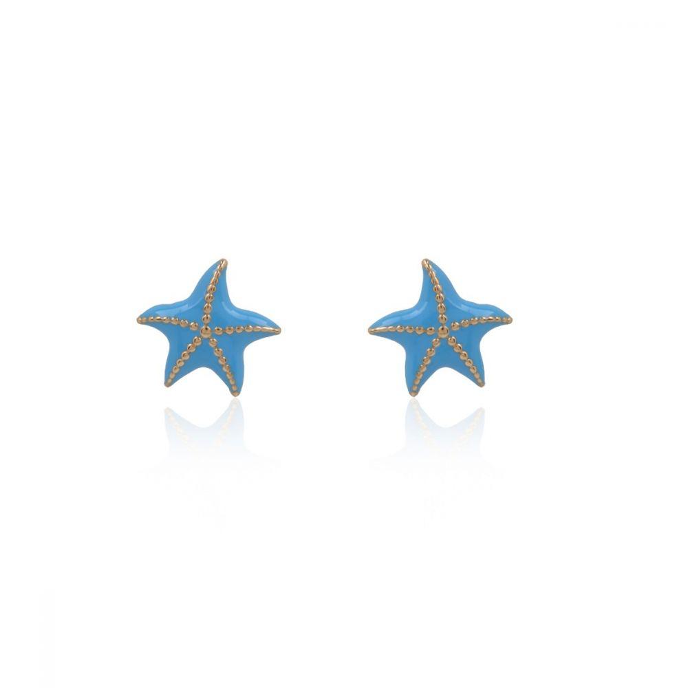 Pendientes oro 18k Estrella de mar azul